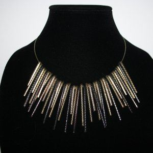 Pretty silver and gold spike bib necklace